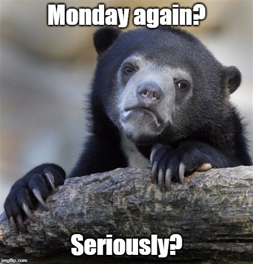 Confession Bear | Monday again? Seriously? | image tagged in memes,confession bear,monday face | made w/ Imgflip meme maker