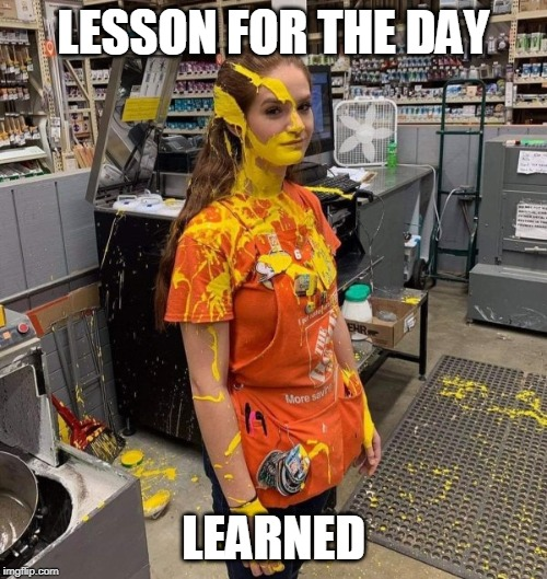 If She Had It To Do Over... |  LESSON FOR THE DAY; LEARNED | image tagged in paint,work accident,home depot | made w/ Imgflip meme maker