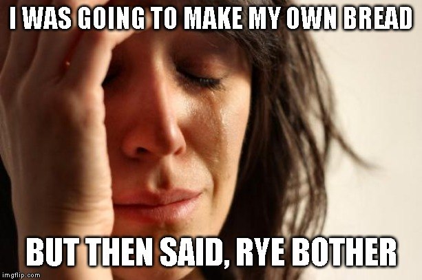 First World Problems Meme | I WAS GOING TO MAKE MY OWN BREAD BUT THEN SAID, RYE BOTHER | image tagged in memes,first world problems | made w/ Imgflip meme maker