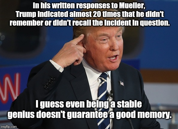Donald Trump Pointing to His Head | In his written responses to Mueller, Trump indicated almost 20 times that he didn't remember or didn't recall the incident in question. I gu | image tagged in donald trump pointing to his head | made w/ Imgflip meme maker