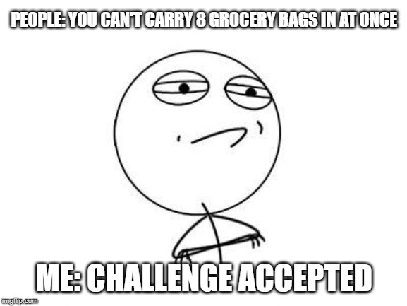 Challenge Accepted Rage Face |  PEOPLE: YOU CAN'T CARRY 8 GROCERY BAGS IN AT ONCE; ME: CHALLENGE ACCEPTED | image tagged in memes,challenge accepted rage face | made w/ Imgflip meme maker
