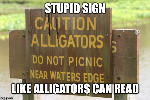 And why shouldn't they picnic where they want? | STUPID SIGN LIKE ALLIGATORS CAN READ | image tagged in stupid signs week | made w/ Imgflip meme maker