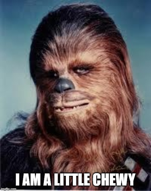 chewbacca | I AM A LITTLE CHEWY | image tagged in chewbacca | made w/ Imgflip meme maker