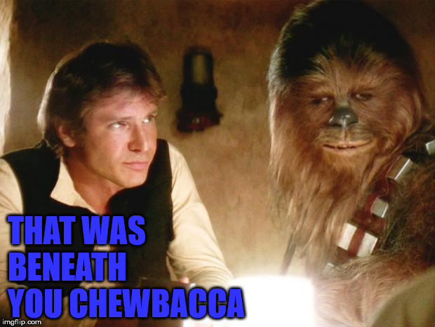 Han Solo Chewbacca | THAT WAS BENEATH YOU CHEWBACCA | image tagged in han solo chewbacca | made w/ Imgflip meme maker