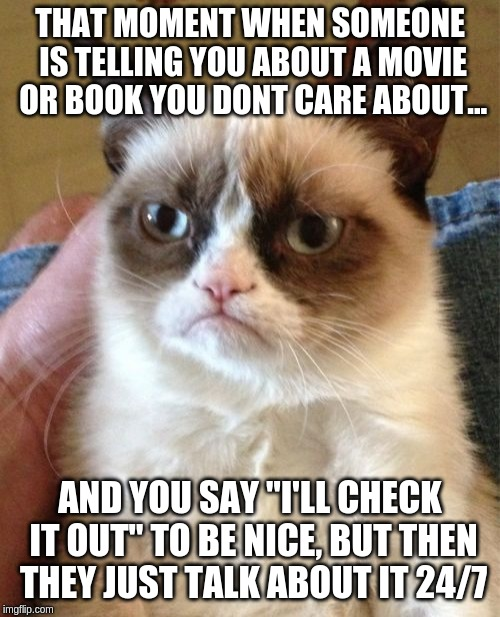 "Grumpy Cat | THAT MOMENT WHEN SOMEONE IS TELLING YOU ABOUT A MOVIE OR BOOK YOU DONT CARE ABOUT... AND YOU SAY ""I'LL CHECK IT OUT"" TO BE NICE, BUT THEN TH 