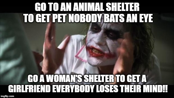 And everybody loses their minds | GO TO AN ANIMAL SHELTER TO GET PET NOBODY BATS AN EYE GO A WOMAN'S SHELTER TO GET A GIRLFRIEND EVERYBODY LOSES THEIR MIND!! | image tagged in memes,and everybody loses their minds | made w/ Imgflip meme maker