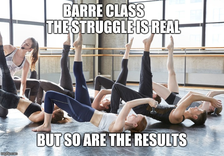 Barre struggle is real | BARRE CLASS       THE STRUGGLE IS REAL BUT SO ARE THE RESULTS | image tagged in barre class,fitness,exercise,gym,workout,results | made w/ Imgflip meme maker