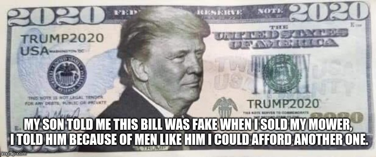 Trump 2020 bill | MY SON TOLD ME THIS BILL WAS FAKE WHEN I SOLD MY MOWER, I TOLD HIM BECAUSE OF MEN LIKE HIM I COULD AFFORD ANOTHER ONE. | image tagged in trump 2020 bill,maga,legal tender,money in my pocket | made w/ Imgflip meme maker