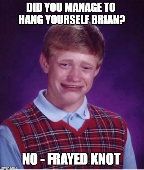 Sad brian | DID YOU MANAGE TO HANG YOURSELF BRIAN? NO - FRAYED KNOT | image tagged in sad brian | made w/ Imgflip meme maker