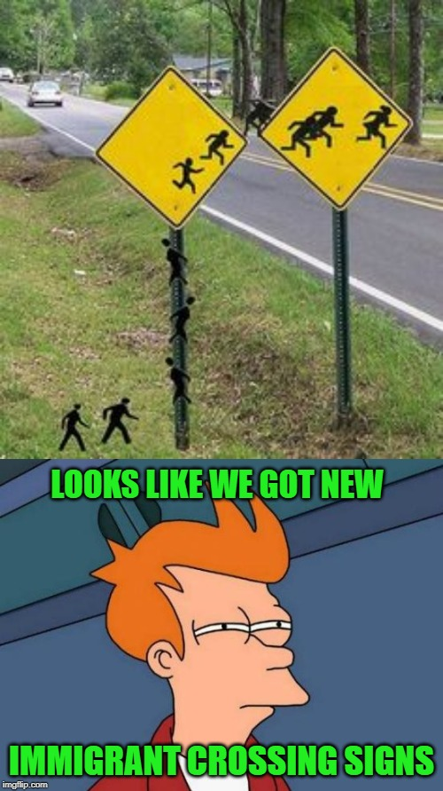 Stupid Signs Week (April 17-23), A LordCheesus and DaBoiIsMeAvery event |  LOOKS LIKE WE GOT NEW; IMMIGRANT CROSSING SIGNS | image tagged in memes,futurama fry,immigrants,stupid signs week,funny,funny signs | made w/ Imgflip meme maker