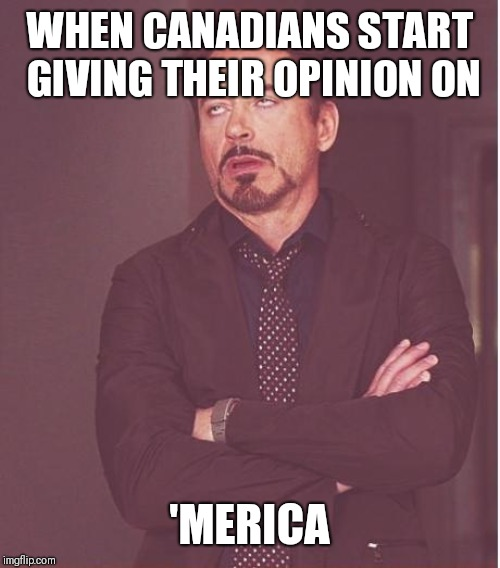 Face You Make Robert Downey Jr | WHEN CANADIANS START GIVING THEIR OPINION ON 'MERICA | image tagged in memes,face you make robert downey jr | made w/ Imgflip meme maker