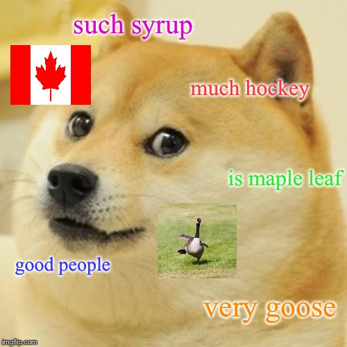 O, Canada. | such syrup much hockey is maple leaf good people very goose | image tagged in memes,doge,canada,maple leaf,canadian,maple syrup | made w/ Imgflip meme maker