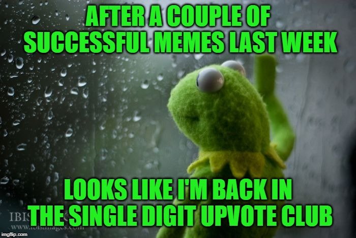 Can you help a single digiter out? | AFTER A COUPLE OF SUCCESSFUL MEMES LAST WEEK LOOKS LIKE I'M BACK IN THE SINGLE DIGIT UPVOTE CLUB | image tagged in kermit window,upvotes,success,begging,funny memes | made w/ Imgflip meme maker