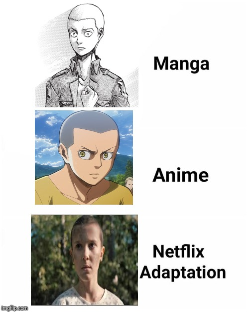 Eleven looks like Connie Springer from Attack On Titan | image tagged in netflix adaptation,attack on titan,stranger things,eleven,baldness | made w/ Imgflip meme maker
