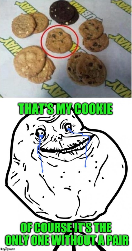 Forever Alone | THAT'S MY COOKIE OF COURSE IT'S THE ONLY ONE WITHOUT A PAIR | image tagged in forever alone,cookies,memes in real life,claybourne | made w/ Imgflip meme maker