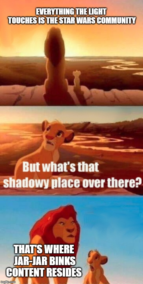 To conclude, I don't like Jar-Jar Binks | EVERYTHING THE LIGHT TOUCHES IS THE STAR WARS COMMUNITY THAT'S WHERE JAR-JAR BINKS CONTENT RESIDES | image tagged in memes,simba shadowy place,jar jar binks,star wars | made w/ Imgflip meme maker