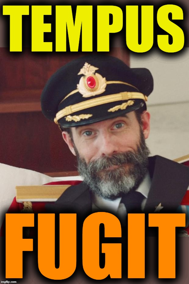 Captain Obvious | TEMPUS FUGIT | image tagged in captain obvious,page 9 party,old imgflip,rollover,latin,foreign language memes | made w/ Imgflip meme maker