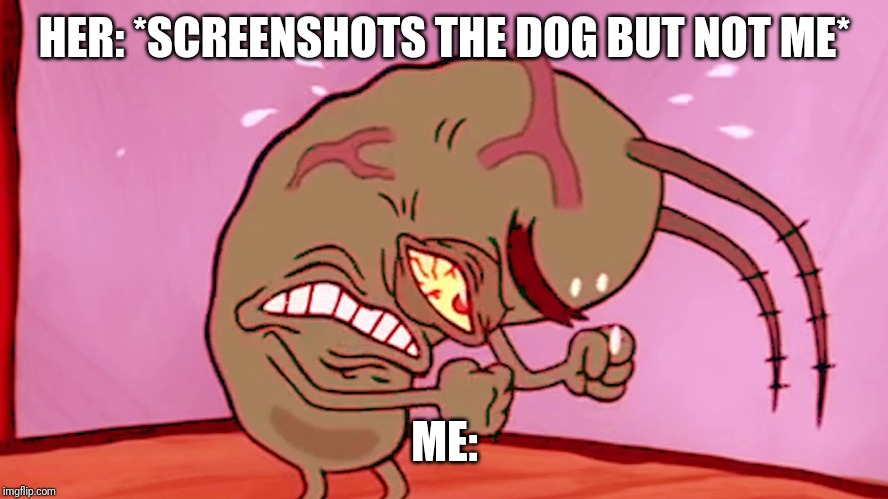 Triggered Plankton |  HER: *SCREENSHOTS THE DOG BUT NOT ME*; ME: | image tagged in triggered plankton | made w/ Imgflip meme maker