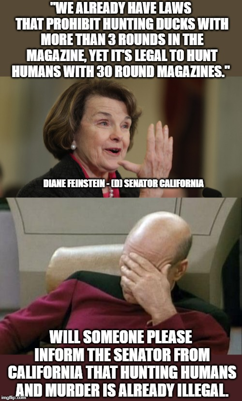 "When stupid people talk about gun control. | ""WE ALREADY HAVE LAWS THAT PROHIBIT HUNTING DUCKS WITH MORE THAN 3 ROUNDS IN THE MAGAZINE, YET IT'S LEGAL TO HUNT HUMANS WITH 30 ROUND MAGAZ 