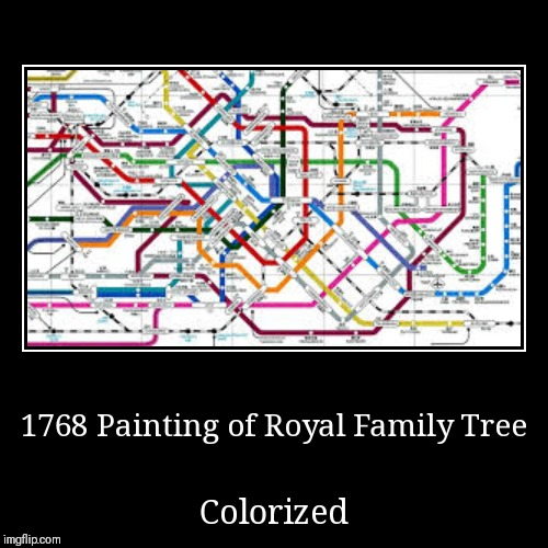 1768 Painting of Royal Family Tree | Colorized | image tagged in funny,demotivationals | made w/ Imgflip demotivational maker