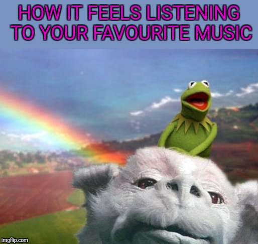 HOW IT FEELS LISTENING TO YOUR FAVOURITE MUSIC | image tagged in music,cloud nine,the never ending story,kermit the frog | made w/ Imgflip meme maker