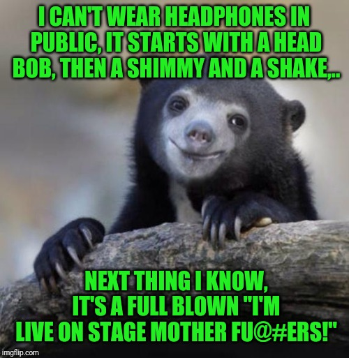 "Spring 1983's lunch time airband runner up right here fu@#ers. For Helix's Rock You! | I CAN'T WEAR HEADPHONES IN PUBLIC, IT STARTS WITH A HEAD BOB, THEN A SHIMMY AND A SHAKE,.. NEXT THING I KNOW, IT'S A FULL BLOWN ""I'M LIVE ON 
