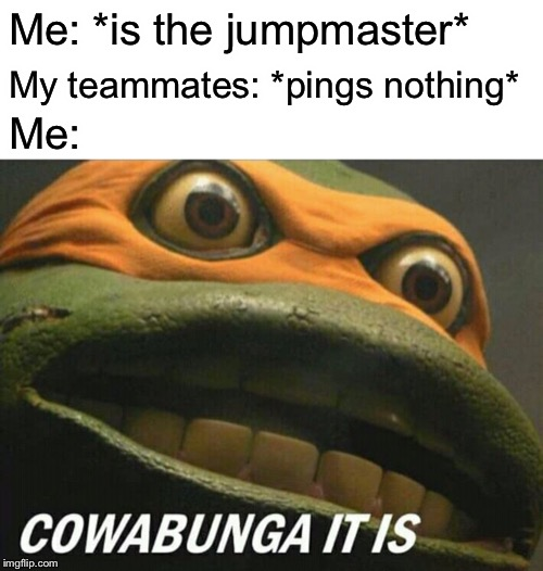 Me when I be playing Apex Legends | Me: *is the jumpmaster* My teammates: *pings nothing* Me: | image tagged in cowabunga it is,memes,apex legends,battle royale,tmnt,michelangelo | made w/ Imgflip meme maker