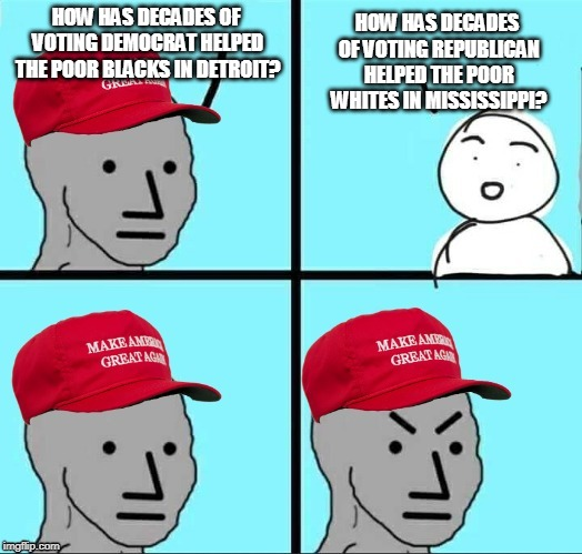 MAGA NPC | HOW HAS DECADES OF VOTING DEMOCRAT HELPED THE POOR BLACKS IN DETROIT? HOW HAS DECADES OF VOTING REPUBLICAN HELPED THE POOR WHITES IN MISSISS | image tagged in maga npc | made w/ Imgflip meme maker