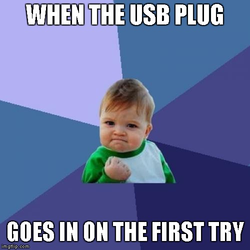 My USB drive flashed me... | WHEN THE USB PLUG GOES IN ON THE FIRST TRY | image tagged in memes,success kid,usb | made w/ Imgflip meme maker