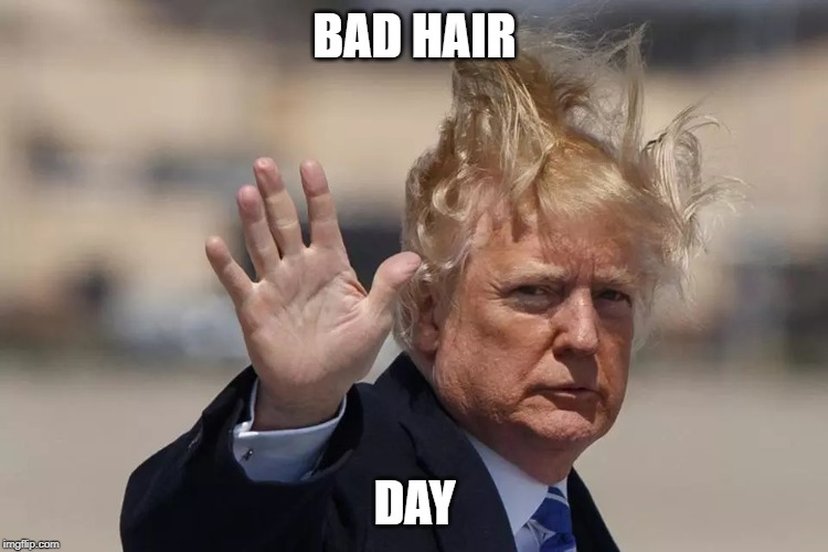 no trump | BAD HAIR DAY | image tagged in bad hair | made w/ Imgflip meme maker