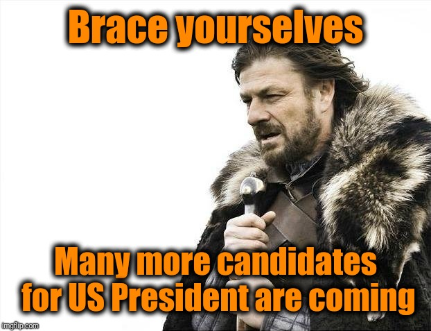 I wonder if there's a limit on the number of candidates | Brace yourselves Many more candidates for US President are coming | image tagged in memes,brace yourselves x is coming | made w/ Imgflip meme maker