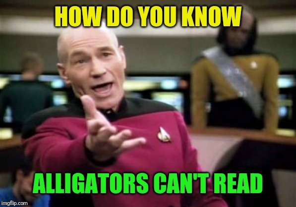 Picard Wtf Meme | HOW DO YOU KNOW ALLIGATORS CAN'T READ | image tagged in memes,picard wtf | made w/ Imgflip meme maker