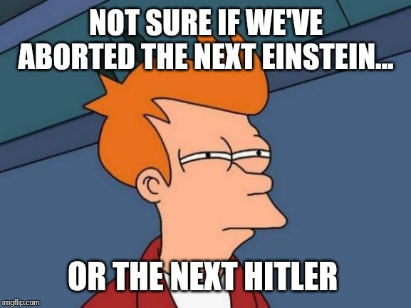 NOT SURE IF WE'VE ABORTED THE NEXT EINSTEIN... OR THE NEXT HITLER | image tagged in memes,futurama fry | made w/ Imgflip meme maker