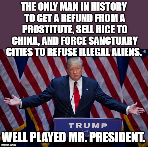 Donald Trump | THE ONLY MAN IN HISTORY TO GET A REFUND FROM A PROSTITUTE, SELL RICE TO CHINA, AND FORCE SANCTUARY CITIES TO REFUSE ILLEGAL ALIENS. WELL PLA | image tagged in donald trump | made w/ Imgflip meme maker