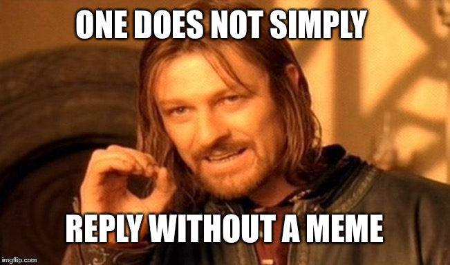 ONE DOES NOT SIMPLY REPLY WITHOUT A MEME | image tagged in memes,one does not simply | made w/ Imgflip meme maker
