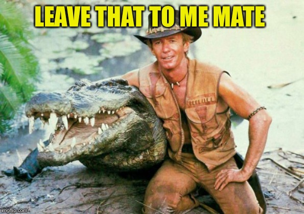 Crocodile Dundee Paul Hogan | LEAVE THAT TO ME MATE | image tagged in crocodile dundee paul hogan | made w/ Imgflip meme maker