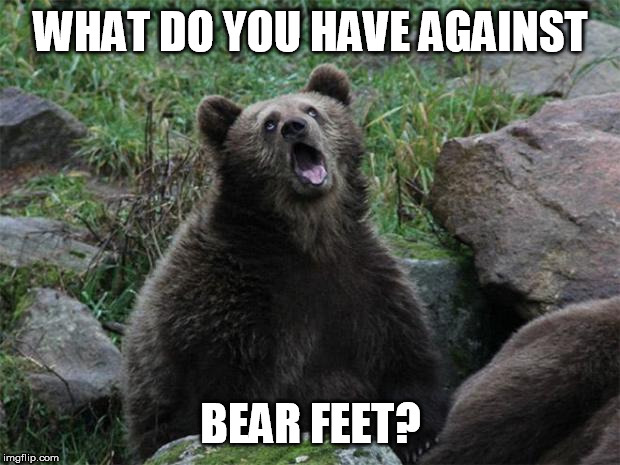 Sarcastic Bear | WHAT DO YOU HAVE AGAINST BEAR FEET? | image tagged in sarcastic bear | made w/ Imgflip meme maker