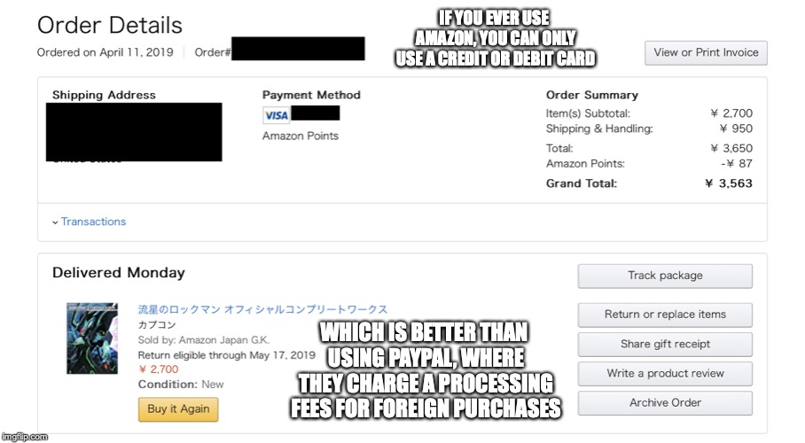 Amazon Japan Checkout Site | IF YOU EVER USE AMAZON, YOU CAN ONLY USE A CREDIT OR DEBIT CARD WHICH IS BETTER THAN USING PAYPAL, WHERE THEY CHARGE A PROCESSING FEES FOR F | image tagged in amazon,japan,memes | made w/ Imgflip meme maker