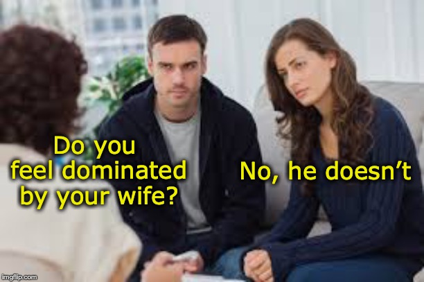 Let's play master and servant | Do you feel dominated by your wife? No, he doesn't | image tagged in couples therapy,domination | made w/ Imgflip meme maker