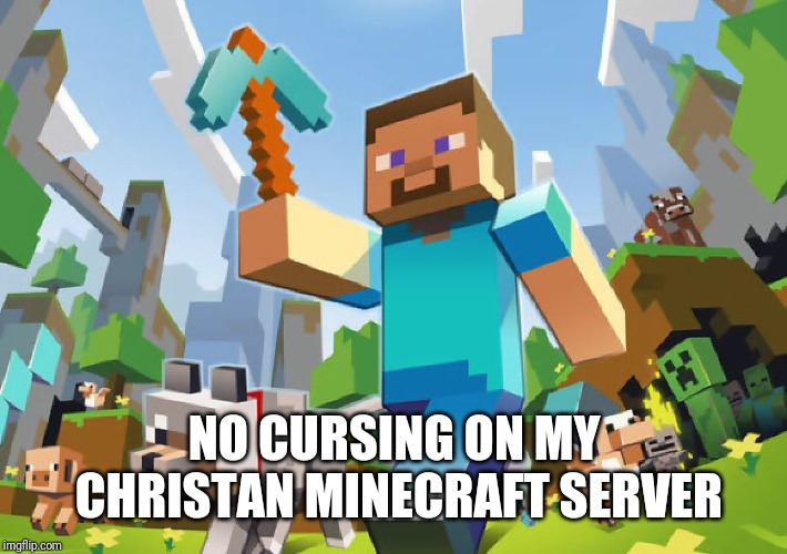 Minecraft  | NO CURSING ON MY CHRISTAN MINECRAFT SERVER | image tagged in minecraft | made w/ Imgflip meme maker
