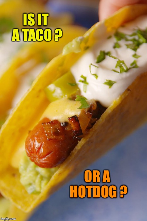 IS IT A TACO ? OR A HOTDOG ? | image tagged in taco tuesday | made w/ Imgflip meme maker