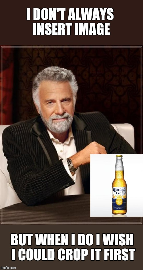 How come we can crop an image after uploading but not an image from the site? | I DON'T ALWAYS INSERT IMAGE BUT WHEN I DO I WISH I COULD CROP IT FIRST | image tagged in memes,the most interesting man in the world | made w/ Imgflip meme maker