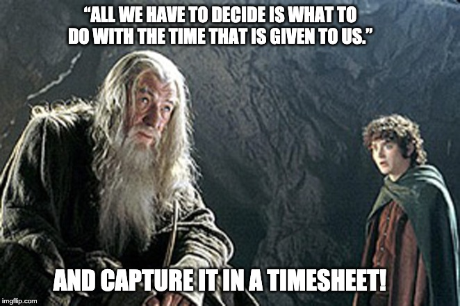 "Lord of the Rings TImesheet Reminder | ""ALL WE HAVE TO DECIDE IS WHAT TO DO WITH THE TIME THAT IS GIVEN TO US."" AND CAPTURE IT IN A TIMESHEET! 