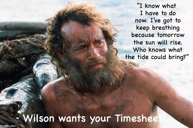 "Castaway Timesheet Reminder | ""I know what I have to do now. I've got to keep breathing because tomorrow the sun will rise. Who knows what the tide could bring?"" Wilson w 