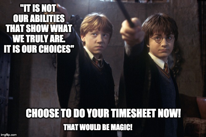"Harry Potter Timesheet reminder | ""IT IS NOT OUR ABILITIES THAT SHOW WHAT WE TRULY ARE. IT IS OUR CHOICES"" CHOOSE TO DO YOUR TIMESHEET NOW! THAT WOULD BE MAGIC! 