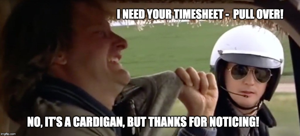 Dumb and Dumber Timesheet Reminder | I NEED YOUR TIMESHEET -  PULL OVER! NO, IT'S A CARDIGAN, BUT THANKS FOR NOTICING! | image tagged in dumb and dumber,time,timesheet reminder,timesheet meme,dumb and dumber timesheet reminder | made w/ Imgflip meme maker