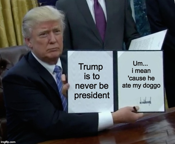 Trump Bill Signing | Trump is to never be president Um... i mean 'cause he ate my doggo | image tagged in memes,trump bill signing | made w/ Imgflip meme maker