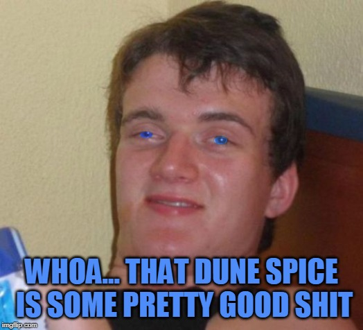10 Dune Guy | WHOA... THAT DUNE SPICE IS SOME PRETTY GOOD SHIT | image tagged in 10 dune guy,memes,melange,dune | made w/ Imgflip meme maker