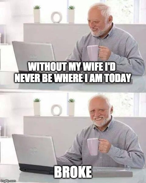 She's a gimme-pig |  WITHOUT MY WIFE I'D NEVER BE WHERE I AM TODAY; BROKE | image tagged in memes,hide the pain harold,wives,money,poor | made w/ Imgflip meme maker