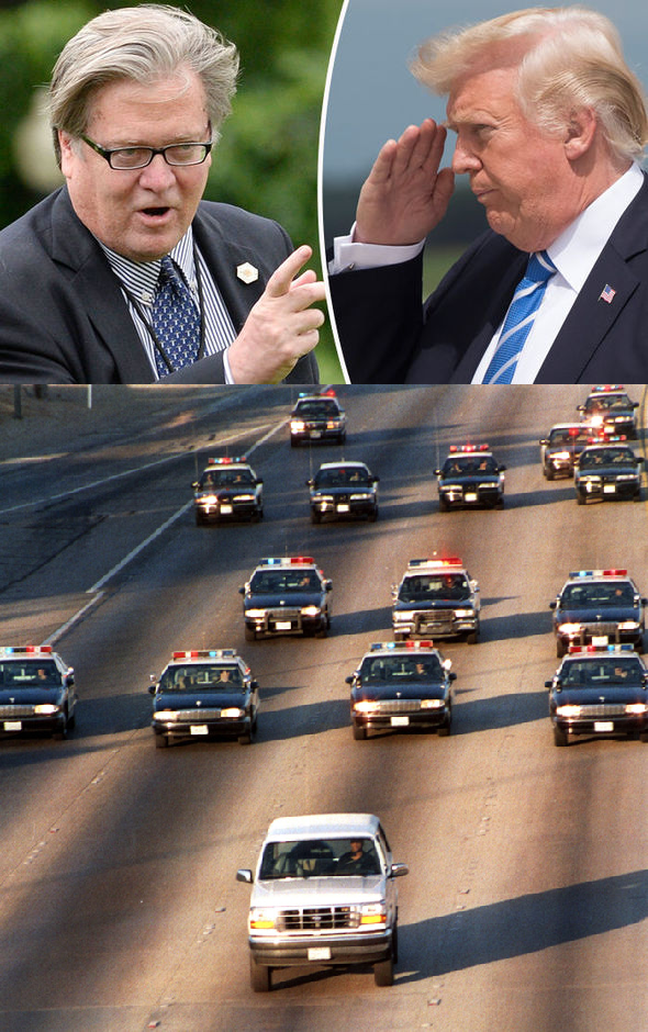 Steve Bannon Donald Trump White Bronco Low Speed Chase Blank Template Imgflip